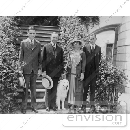 #2135 President and Mrs. Coolidge With Their Sons and Dog by JVPD