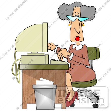 #21402 Old Female Secretary Typing at a Computer Desk While Working Clipart by DJArt