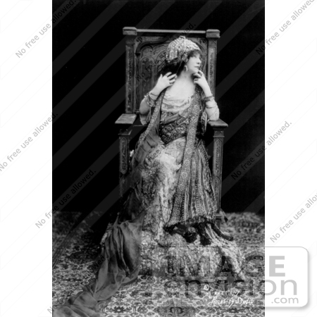 #21415 Stock Photography of the Actress Sarah Bernhardt Sitting in a Chair in a Beautiful Dress, a Costume For One of Her Roles by JVPD