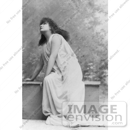 #21418 Stock Photography of the Actress Sarah Bernhardt Wearing a Cloth While Acting and Curiously Looking Upwards by JVPD
