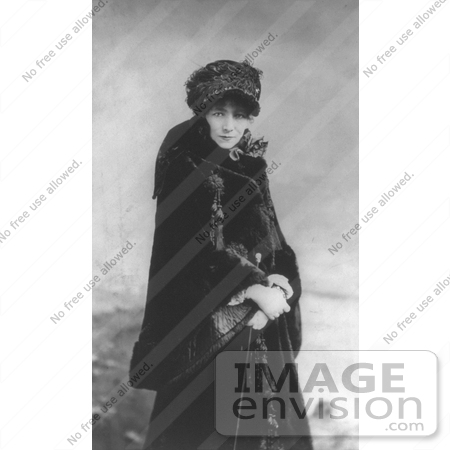 #21419 Stock Photography of the Actress Sarah Bernhardt Wearing a Hat and a Long Fur Coat by JVPD