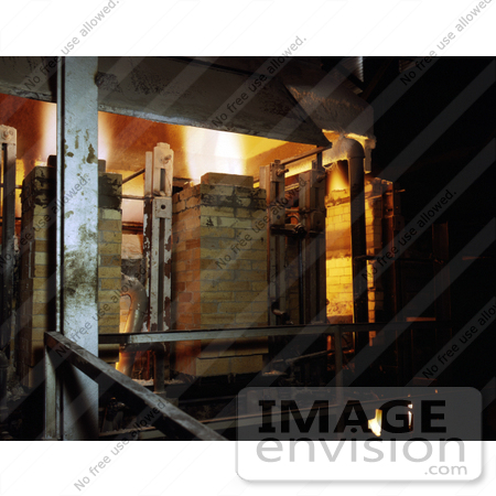 #21431 Historical Stock Photography of a Glass Furnace Melting the Compounded Batch for Fiberglass Insulation by JVPD