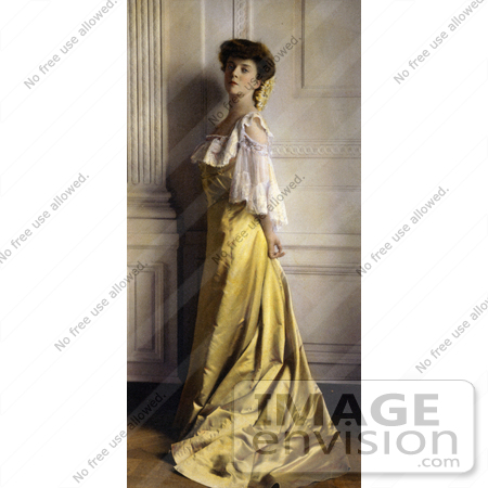 #21445 Stock Photography of Alice Roosevelt Longworth in a Yellow Satin Dress, 1903 by JVPD
