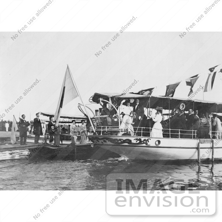 #21449 Stock Photography of Alice Roosevelt Longworth on a Boat, Waving Goodbye, Kobe, Japan by JVPD