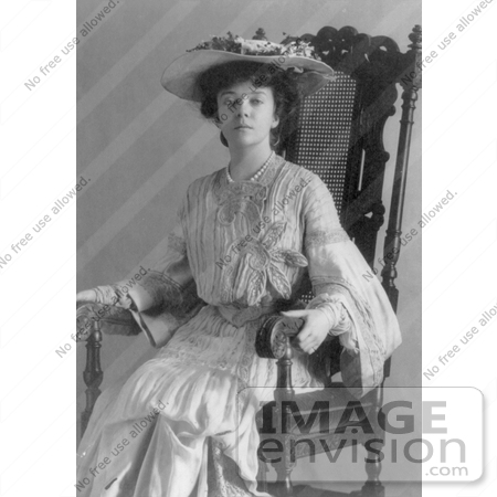 #21457 Stock Photography of Alice Roosevelt Longworth in a Hat and Dress, Sitting in a Chair by JVPD