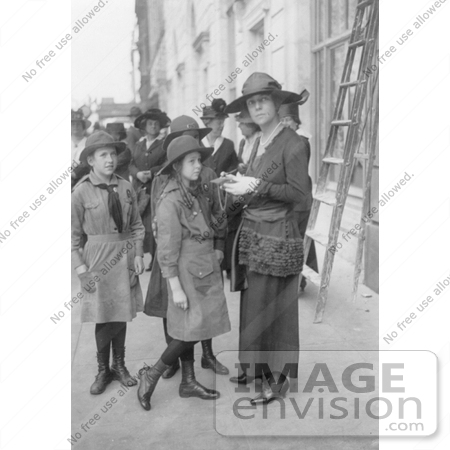 #21459 Stock Photography of Alice Roosevelt Longworth Buying Liberty Bonds From Girl Scouts by JVPD