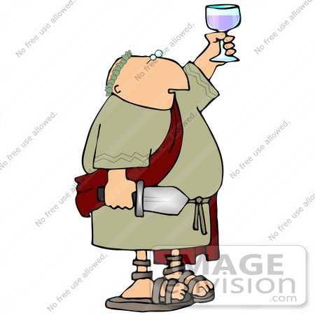 #21582 Roman Soldier Holding a Sword and a Glass of Wine During a Toast Clipart by DJArt