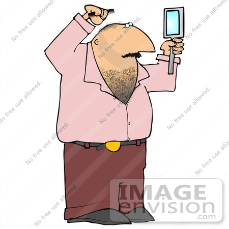 #21591 Man With a Hairy Chest Using a Hand Mirror To Watch While Combing His Hair Clipart Illustration by DJArt