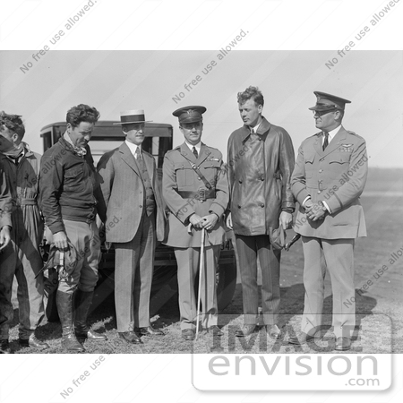 #21630 Stock Photography of Orville Wright, Major John F. Curry, and Colonel Charles Lindber by JVPD