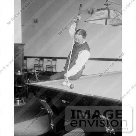 #21654 Stock Photography of Firmin Cassignol Taking a Difficult Shot While Playing Pool by JVPD