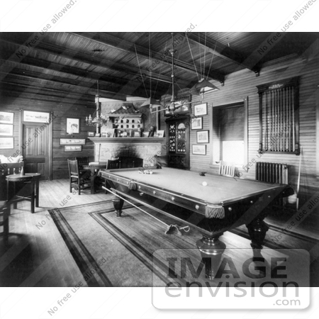 #21669 Stock Photography of a Pool Table in a Billiards Room at Valley Forge Farm in 1904 by JVPD