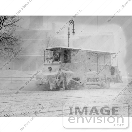 #21695 Stock Photography of a Trolly Plowing Snow on the Street in New York, 1910 by JVPD