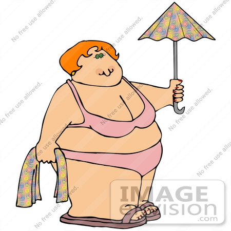 #21704 Clipart of a Chubby Woman Wearing a Pink Bikini and Holding a Towel and Umbrella on a Beach by DJArt