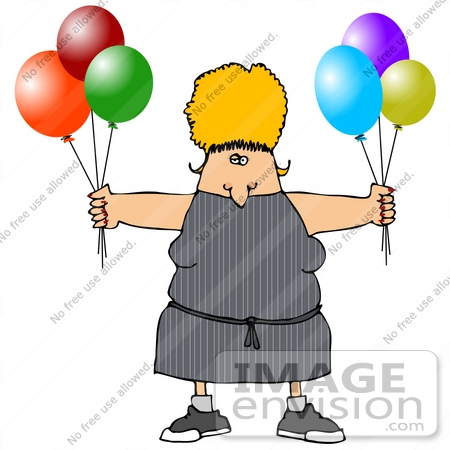 #21705 Clipart of a Woman Holding Two Bundles of Birthday Party Balloons by