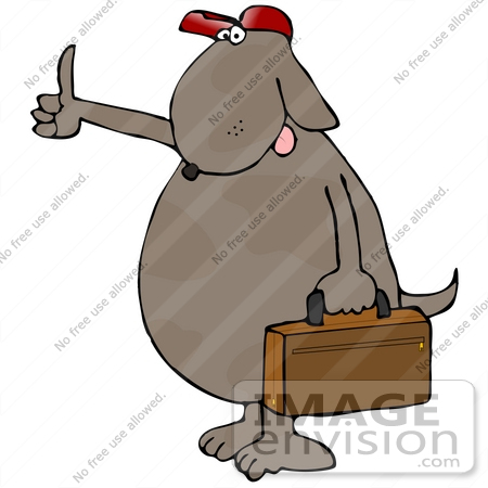 #21709 Clipart of a Hitch Hiking Brown Dog Carrying a Suitcase by DJArt