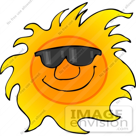#21710 Clipart of a Happy, Hot Sun Wearing Sunglasses by DJArt