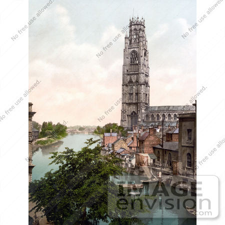 #21772 Historical Stock Photography of the River Haven Near the St Botolph's Church, Bostom Stump, The Stump in Boston, Lincolnshire, England, UK by JVPD
