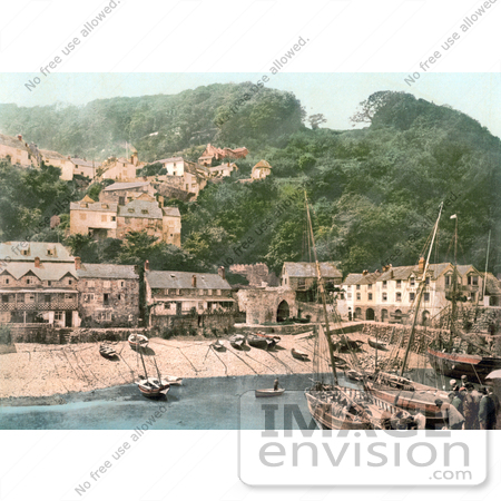 #21784 Historical Stock Photography of the Harbor and Red Lion Hotel in Clovelly Devon England by JVPD