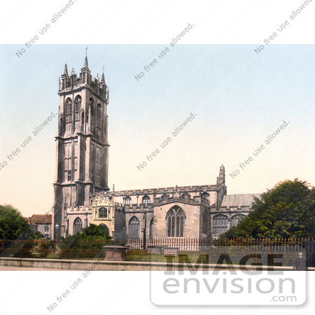 #21846 Historical Stock Photography of the Tower of St Johns Church in Glastonbury Somerset England by JVPD