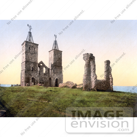 #21851 Historical Stock Photography of the Ruins of the 14th Century Reculver Church Near Herne Bay North Kent England by JVPD