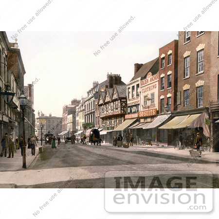 #21887 Historical Stock Photography of Storefronts and Street Scene of Southgate Street in Gloucester England by JVPD