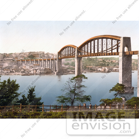 #22033 Stock Photography of the Royal Albert Brunel Saltash Bridge Spanning the River Tamar in Plymouth, Devon, UK by JVPD