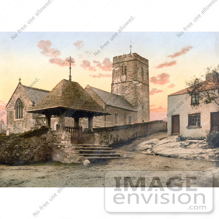 #22163 Historical Stock Photography of St Mary's Church in Morthoe Devon England by JVPD