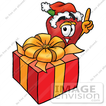 #22294 Clip art Graphic of a Red Apple Cartoon Character Standing by a Christmas Present by toons4biz