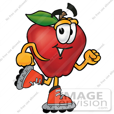 Clip art Graphic of a Red Apple Cartoon Character Roller Blading ...