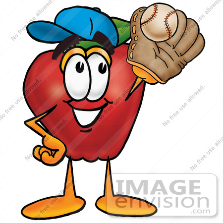 #22303 Clip art Graphic of a Red Apple Cartoon Character Catching a Baseball With a Glove by toons4biz