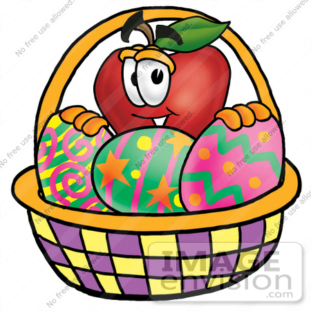 #22311 Clip art Graphic of a Red Apple Cartoon Character in an Easter Basket Full of Decorated Easter Eggs by toons4biz