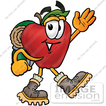 #22320 Clip art Graphic of a Red Apple Cartoon Character Hiking and Carrying a Backpack by toons4biz