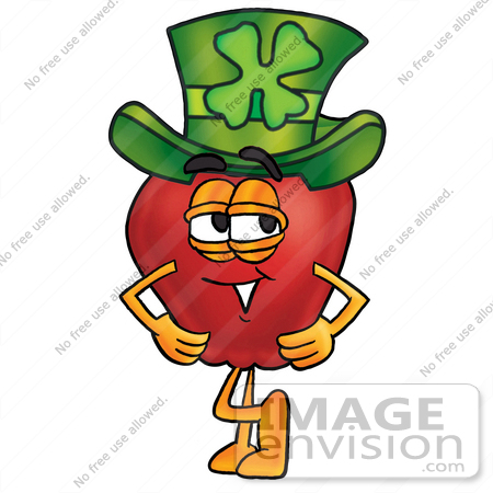 #22330 Clip art Graphic of a Red Apple Cartoon Character Wearing a Saint Patricks Day Hat With a Clover on it by toons4biz