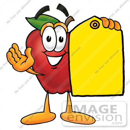 #22349 Clip art Graphic of a Red Apple Cartoon Character Holding a Yellow Sales Price Tag by toons4biz