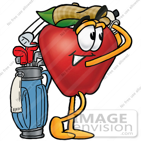 #22351 Clip art Graphic of a Red Apple Cartoon Character Swinging His Golf Club While Golfing by toons4biz