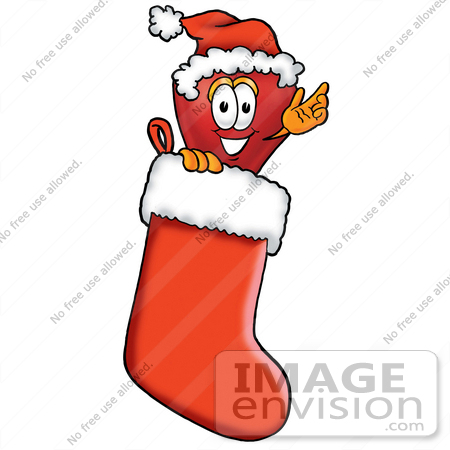 #22355 Clip art Graphic of a Red Apple Cartoon Character Wearing a Santa Hat Inside a Red Christmas Stocking by toons4biz