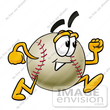 #22357 Clip art Graphic of a Baseball Cartoon Character Running by toons4biz