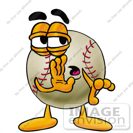 #22362 Clip art Graphic of a Baseball Cartoon Character Whispering and Gossiping by toons4biz