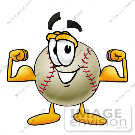 Clip art Graphic of a Baseball Cartoon Character Flexing His Arm ...
