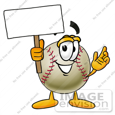 #22369 Clip art Graphic of a Baseball Cartoon Character Holding a Blank Sign by toons4biz