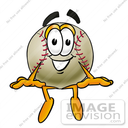 #22373 Clip art Graphic of a Baseball Cartoon Character Sitting by toons4biz