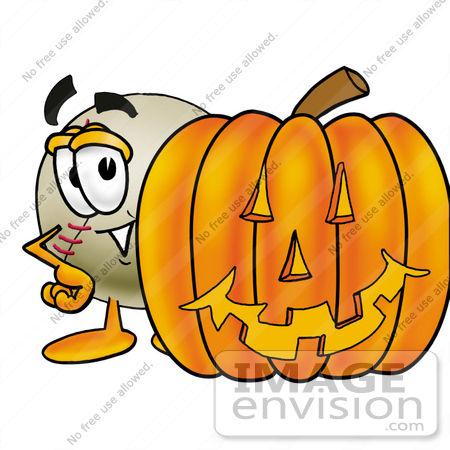#22383 Clip art Graphic of a Baseball Cartoon Character With a Carved Halloween Pumpkin by toons4biz