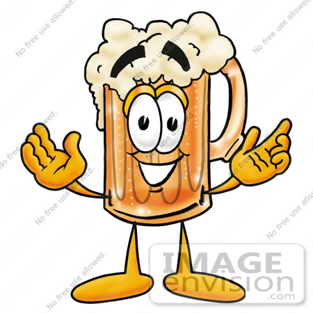 #22400 Clip art Graphic of a Frothy Mug of Beer or Soda Cartoon Character With Welcoming Open Arms by toons4biz
