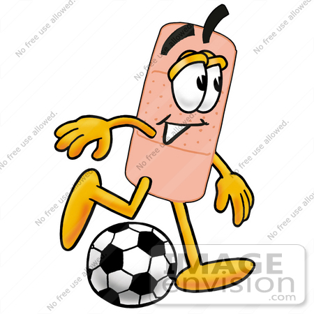 #22429 Clip art Graphic of a Bandaid Bandage Cartoon Character Kicking a Soccer Ball by toons4biz