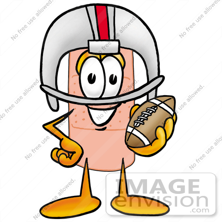 #22453 Clip art Graphic of a Bandaid Bandage Cartoon Character in a Helmet, Holding a Football by toons4biz