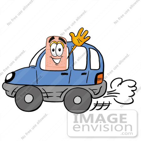 #22461 Clip art Graphic of a Bandaid Bandage Cartoon Character Driving a Blue Car and Waving by toons4biz