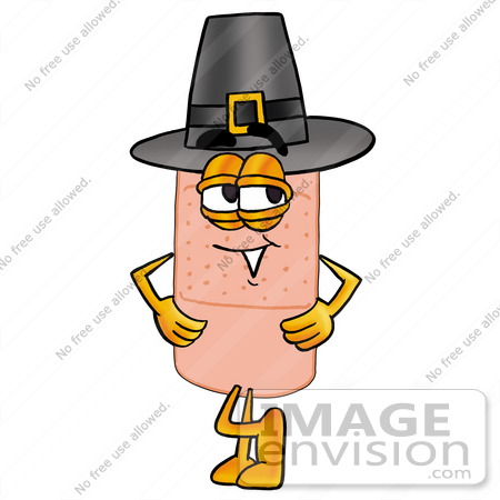 #22464 Clip art Graphic of a Bandaid Bandage Cartoon Character Wearing a Pilgrim Hat on Thanksgiving by toons4biz