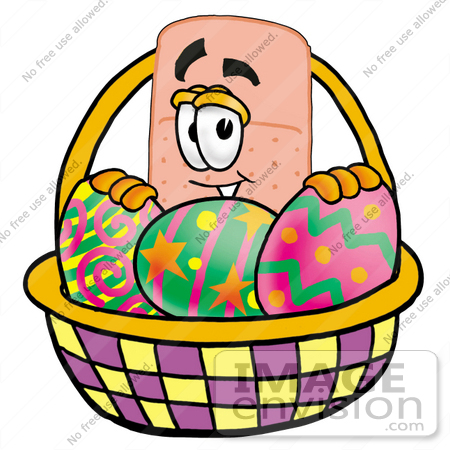 #22466 Clip art Graphic of a Bandaid Bandage Cartoon Character in an Easter Basket Full of Decorated Easter Eggs by toons4biz
