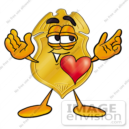 #22475 Clip art Graphic of a Gold Law Enforcement Police Badge Cartoon Character With His Heart Beating Out of His Chest by toons4biz