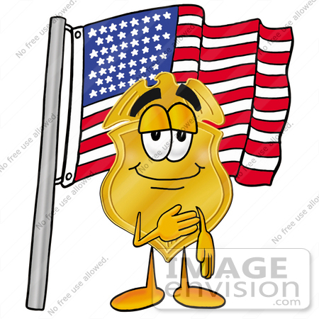 #22476 Clip art Graphic of a Gold Law Enforcement Police Badge Cartoon Character Pledging Allegiance to an American Flag by toons4biz